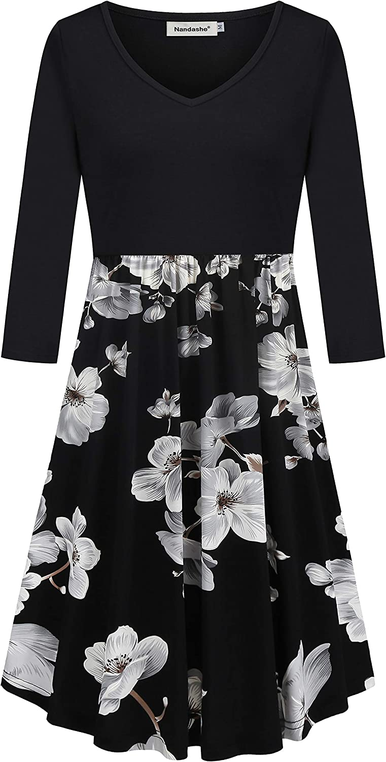 Nandashe Women's Casual V-Neck 3/4 Sleeve Floral Swing Midi Dresses with Pockets
