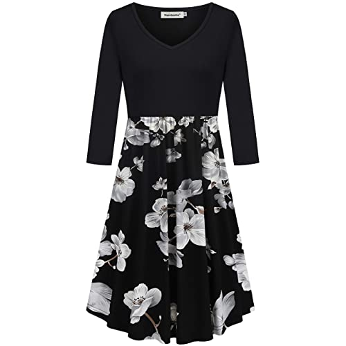 48b0e95158e Nandashe Women s Casual V-neck 3 4 Sleeve Floral Swing Midi Dresses with  Pockets