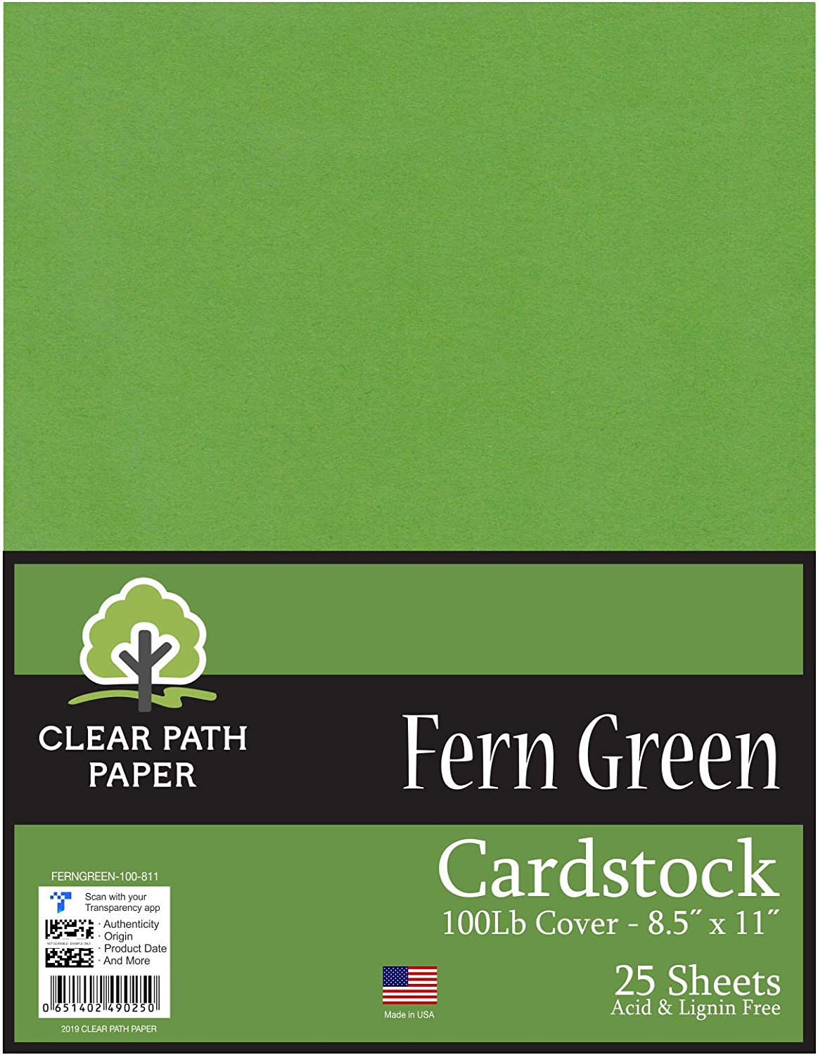 25 Sheets 12 x 12 inch Forest Green Cardstock 80Lb Cover Clear Path Paper