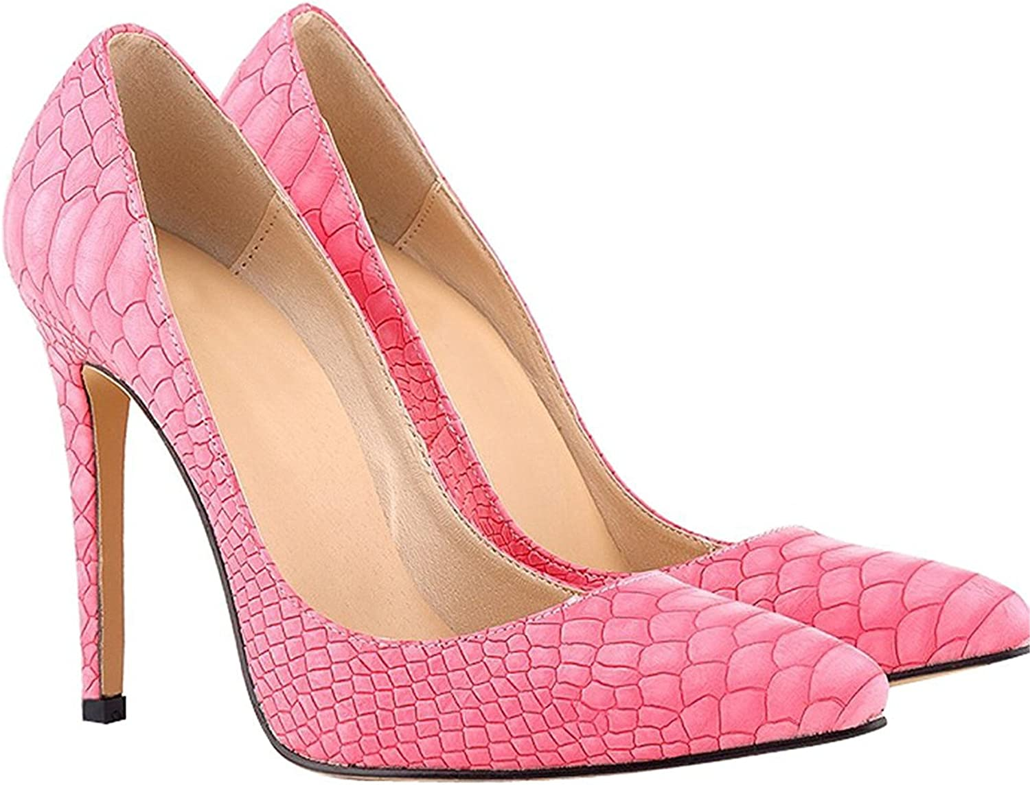 WANabcMAN Comfortable Women's Pattern Pointy Stiletto High Heels shoes Pink 42