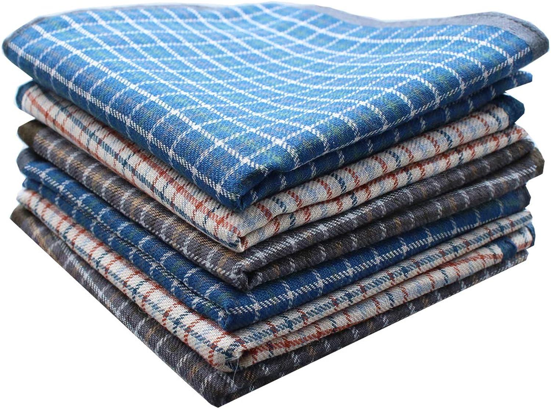 100% Cotton Men Checkered Pattern Handkerchiefs Plaid Hankies 17x17
