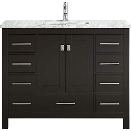 Eviva London 42 X 18 Inch Espresso Transitional Bathroom Vanity With White Carrara Marble Countertop And Undermount Porcelain Sink Amazon Com