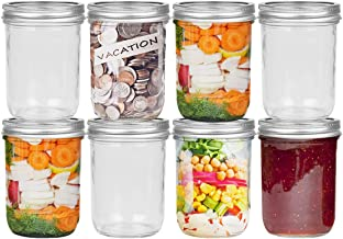 FRUITEAM 16oz Wide Mouth Large Mason Jars with Silver Metal Airtight Lids, Transparent Glass Canning Jar- Set of 8