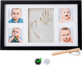Baby Handprint Kit  NO Mold  Baby Picture Frame, Baby Footprint kit, Perfect for Baby Boy Gifts,Top Baby Girl Gifts, Baby Shower Gifts, Newborn Baby Keepsake Frames (Deluxe, Black)