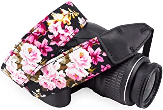 Wolven Pattern Cotton Camera Neck Shoulder Strap Belt Compatible for All DSLR/SLR/Men/Women etc, Black Flower