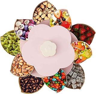 YuuHeeER Boîte à goûter à 2 étages avec fleurs rotatives pour bonbons, biscuits