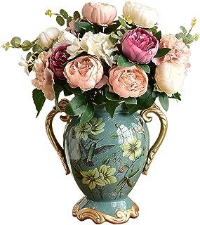 Hkwshop Decoracion Jarrones Florero de cerámica Adornos Decorativos Sala de Estar Retro Mesa de Comedor Decoraciones de ga...