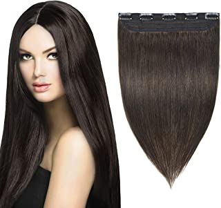 YAMEL Clip in Hair Extensions Human Hair 3/4 Full Head 1 Piece 5 Clips Natural Long Straight Hairpiece for Women 16 Inch Medium Brown