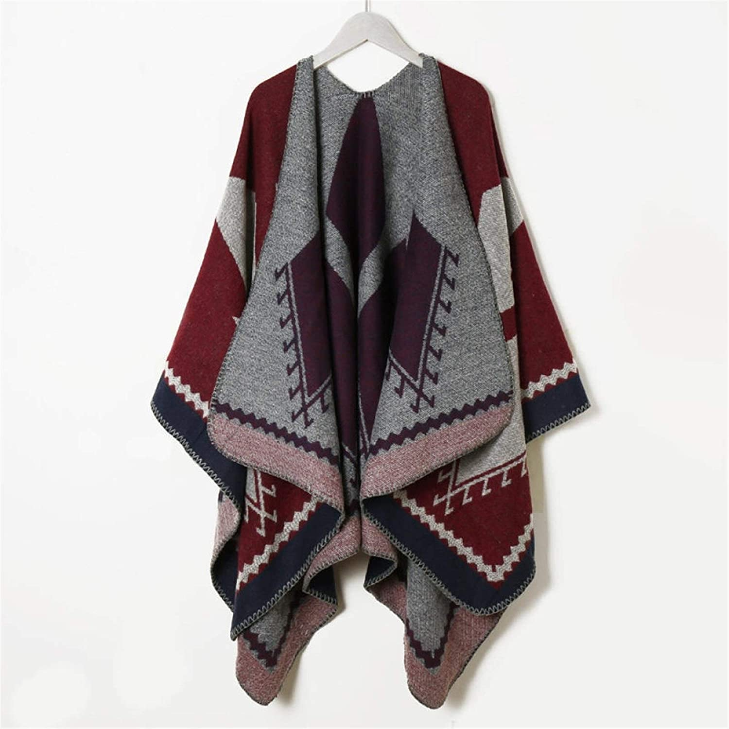 SYXMSM Autumn and Winter Scarf Wild Plaid Ladies Travel Shawl Imitation Cashmere Ethnic Style Split Thickened Cloak (Color : 3, Size : 130X150cm)