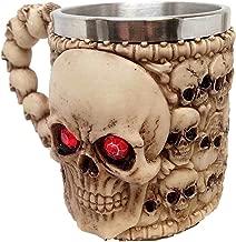 Ebros Ossuary Skeleton Heap Of Skulls Ghost Skull With Red Crystal Eyes Mug For Coffee Beverage Beer Tankard Macabre Decor Halloween Prop Figurine