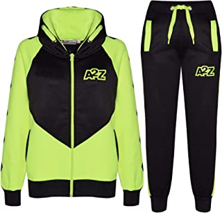 Kids Girls Boys Tracksuit Green Contrast Panel Hooded Top & Bottom Jogging Suit