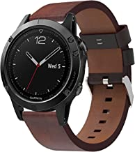 hengkang Compatible with Garmin Fenix 5 Plus Watch Band, Forerunner 945 Leather Bands, 22mm Quickfit Replacement Accessory Band Straps Bracelet fit for Garmin MARQ, Aproach S60