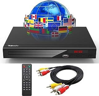 Tojock DVDプレーヤー、DVD/CD再生専用 TV用全地域DVD CD /ディスクプレーヤー、リージョンフリー、AV出力付き、 AVケーブル付属、USB端子