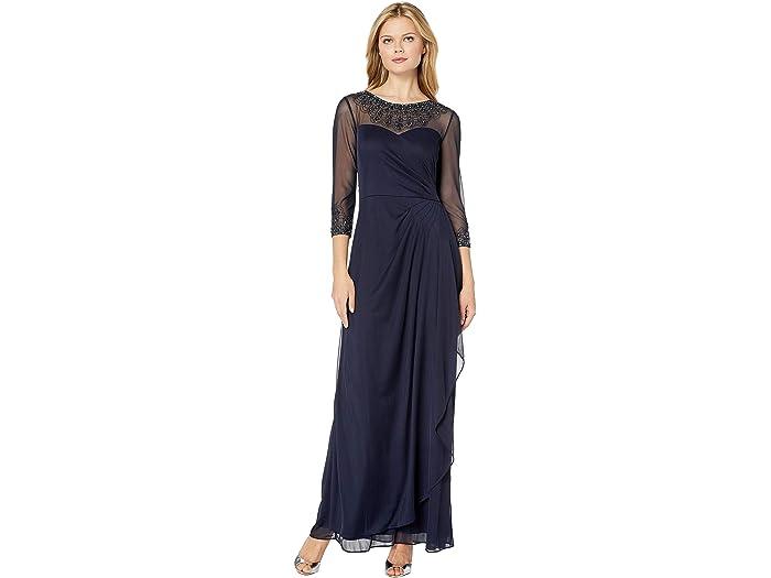 Alex Evenings Womens Short Cap Sleeve Dress Beaded Neckline
