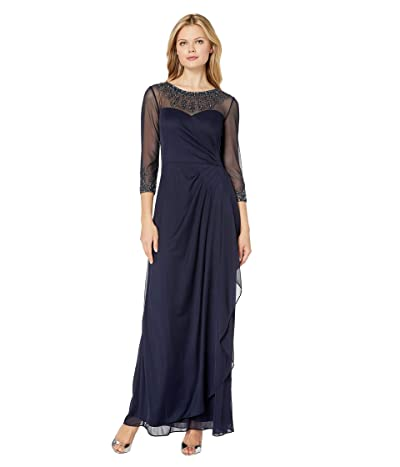 Alex Evenings Long A-Line Dress with Beaded Sweetheart Illusion Neckline (Dark Navy) Women