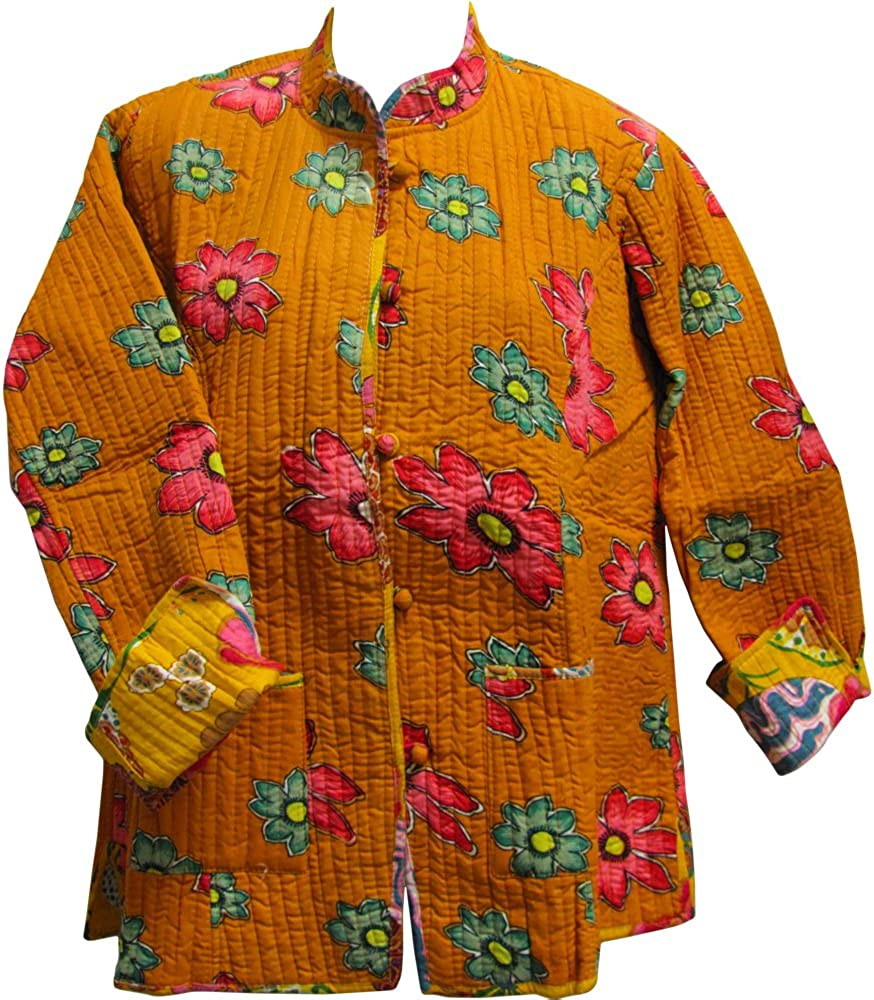 Reversible Missy Floral Quilted Cotton Outerwear Jacket Cardigan Blouse JK No8