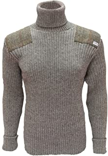 Roll Neck Woolly Pully Sweater with Harris Tweed Patches