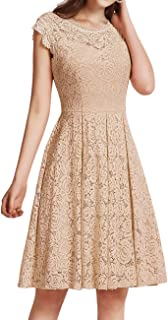 Meetjen Damen Festliche Cocktailkleid Elegante Abendkleid Hochzeitskleid Knielang Brautjungfern Midi Spitzenkleider