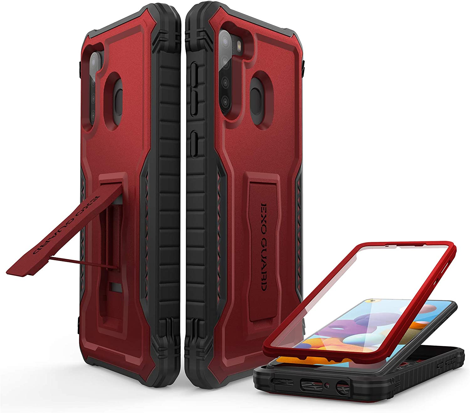 ExoGuard for Samsung Galaxy A21 Case, Rubber Shockproof Full-Body Cover Case Built-in Screen Protector and Kickstand Compatible with Samsung A21 Phone (Red)