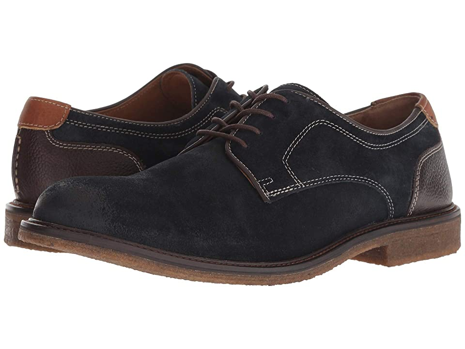 Johnston & Murphy Copeland Plain Toe (Navy Water-Resistant Oiled Suede) Men