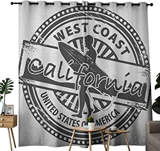 NUOMANAN Blackout Curtains for Bedroom Ride The Wave,West Coast California United States of America Grunge Vintage Stamp Print, Grey White,Darkening Grommet Window Curtain-Set of 2 54