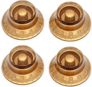Metallor Electric Guitar Top Hat Knobs Speed Volume Tone Control Knobs Compatible with Les Paul LP Guitar Parts Replacement Set of 4Pcs. (Gold)