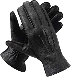 Mens Genuine Leather Gloves Winter - Alomidds Touchscreen Windproof Dress Driving Gloves with Wool Lining