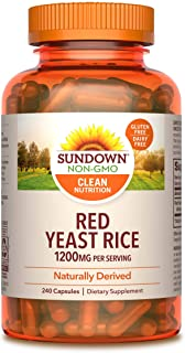 Sundown Red Yeast Rice 1200 mg Capsules (240 Count), Naturally Derived, Gluten Free, Dairy Free, Non-GMOˆ, Free of Gluten,...