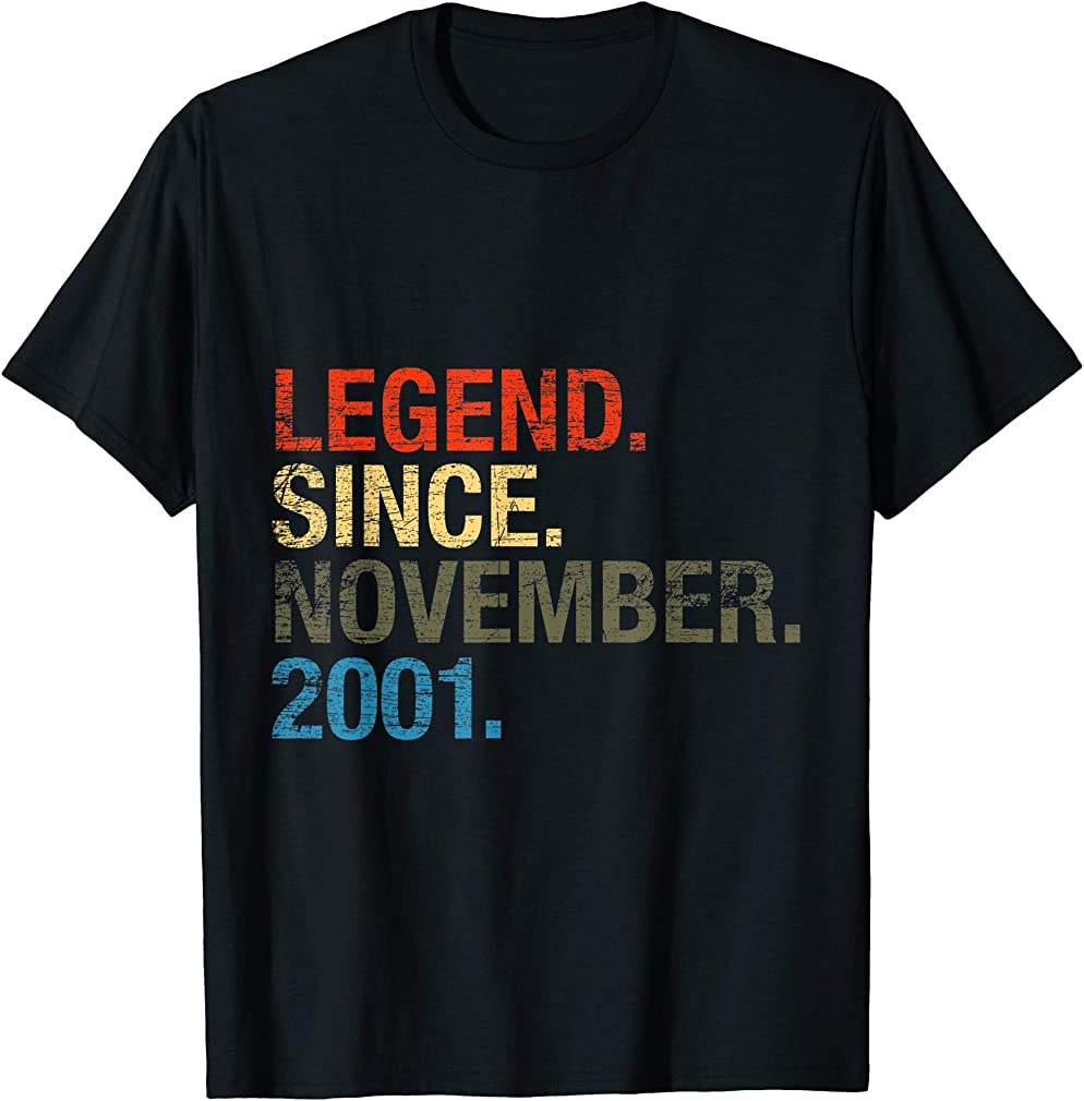 19th Birthday Gifts - Legend Since November 2001 T-shirt