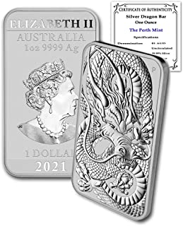 2021 AU 1 oz Silver Bar Australia Perth Mint Dragon Series Rectangular Coin Brilliant Uncirculated with Certificate of Authenticity by CoinFolio $1 BU