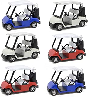 Liberty Imports 6 Pack Die-cast Metal Golf Cart Model Toy 1:20 Scale Vehicle (4½ Inches)