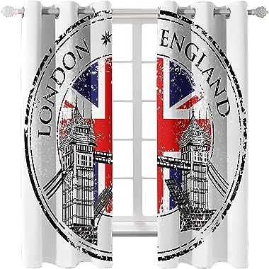 Daesar Lot Rideau Occultant, Rideaux pour Salon Moderne 274x244CM Rideaux Occultants 3D London England avec Drapeau Britanniq