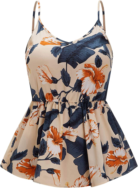 SheIn Women's Plus Size V Neck Sleeveless Blouse Peplum Ruffle Hem Cami Tank Top