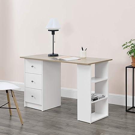 [en.casa] Bureau Table de Bureau Secrétaire Poste de Travail Informatique avec 3 Tiroirs et 3 Étagères Plat de Bois Mélaminé Blanc et Bois 120 x 49 x 72cm