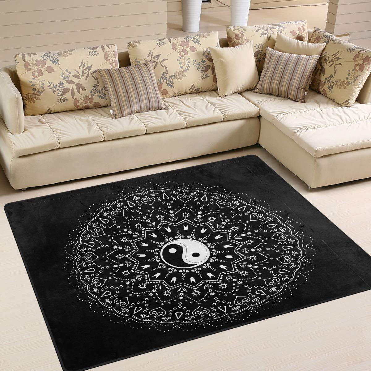 55% OFF ALAZA Indian Mandala Flower Yin Yang Rug Super-cheap Liv Area for Rugs Black