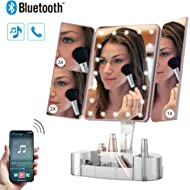 Makeup Mirror with Lights and Bluetooth - Tri-Fold Vanity Mirror with Magnification (2x/3x/10x),...