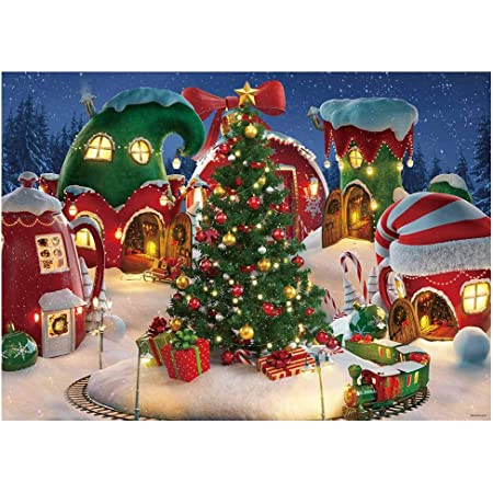 7x10 FT Christmas Vinyl Photography Background Backdrops,Traditional Garland Designs with Flowers Socks and Bells Mistletoe Candy Background for Selfie Birthday Party Pictures Photo Booth Shoot