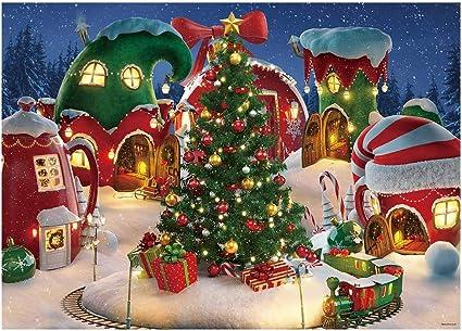 Funnytree Fotohintergrund Motiv Weihnachtsdorf 2 2 X 1 5 M Mit Winterschnee Kiefernbaum Animiert Kinder Party