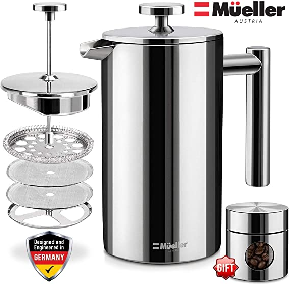 Mueller French Press 20% Heavier Duty Double Insulated 310 Stainless Steel Coffee Maker Multi-Screen System 100% No Coffee Grounds Guarantee