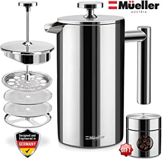 Mueller French Press Double-Wall Stainless Steel Mirror Finish 20% Heavier Duty Coffee/Tea Maker Multi-Screen System 100% No Coffee Grounds Guarantee, 18/10 Stainless Steel, Rust-Free, Dishwasher Safe