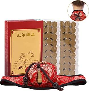 Moxibustion Set, Neck Pad and Round Shape Burner Box with 108Pcs Pure Moxa Moxibustion Rolls Kit for Neck Abdomen Healing Massage