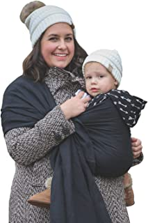 Nalakai Luxury Ring Sling Baby Carrier – Extra-Soft Bamboo and Linen Fabric - Lightweight Plus Size Infant Carrier Also for Newborns and Toddlers - Perfect Baby Shower Gift - Nursing Cover - Black