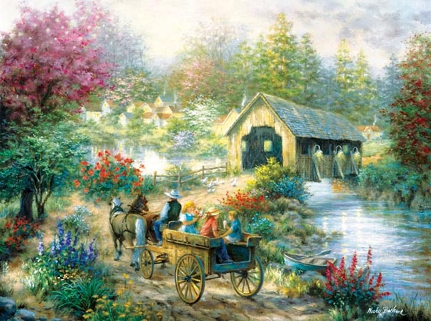 Merriment at the Covered Bridge 1000 pc Jigsaw Puzzle