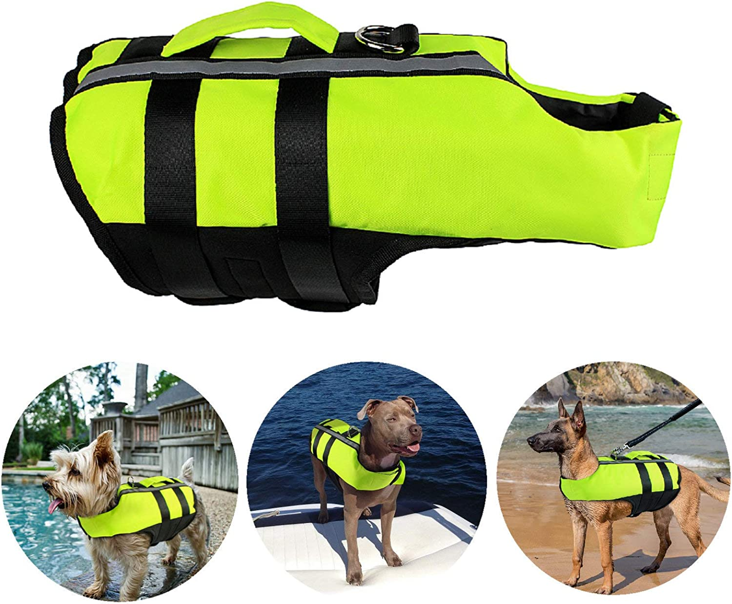 Petvins Dog Life Jacket Inflatable Pet Life Preserver Adjustable Air Sac Swiming Coat Safety Vest Fluorescent Green Small