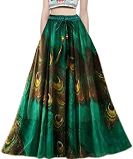 Clothfab Ladies Crepe Digital Printed Western Long Skirt (Green)