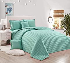 Compressed Two-Sided Comforter 6 Piece Set, King Size, Silver Green