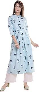 6TH AVENUE STREETWEAR Women's Cotton Umbrella Print Anarkali Kurti (Blue)