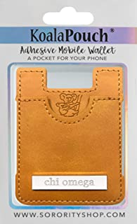 Chi Omega - Leather Style Koala Pouch - Adhesive Mobile Wallet