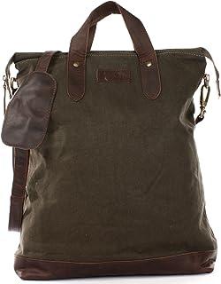 LECONI Shopper Leder  Canvas Vintage-Look Umhängetasche für Damen Henkeltasche große Beuteltasche DIN A4 Damentasche Handtasche 39x45x10cm LE0037-C