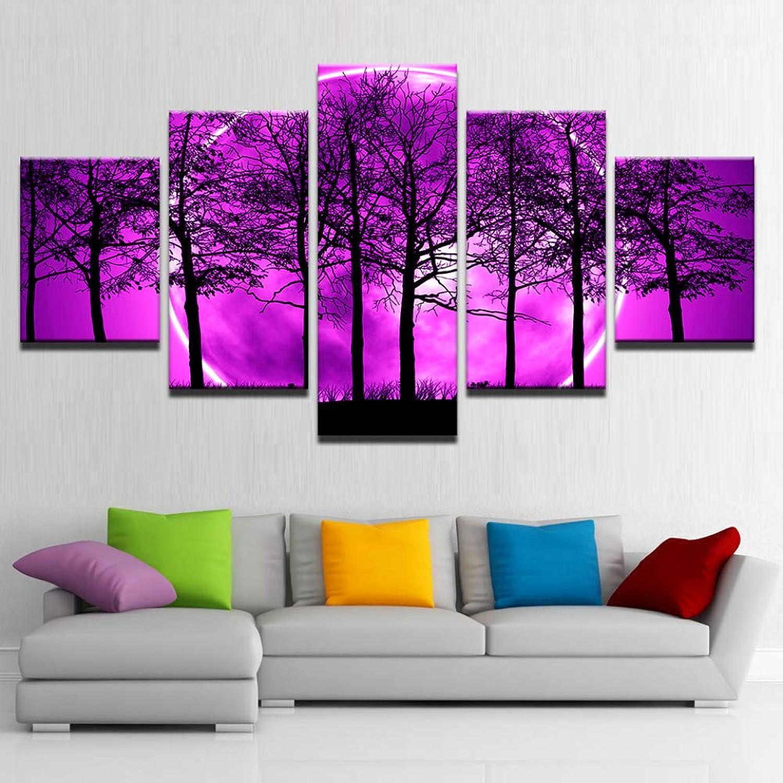 comprar descuentos WOKCL WOKCL WOKCL Cuadro en Lienzo Impresiones HD Lienzo Sala de Decoración Fotos 5 Unidades púrpura Moon Night Bosque Psicodélico Pintura Wall Art Trees Poster  100% autentico